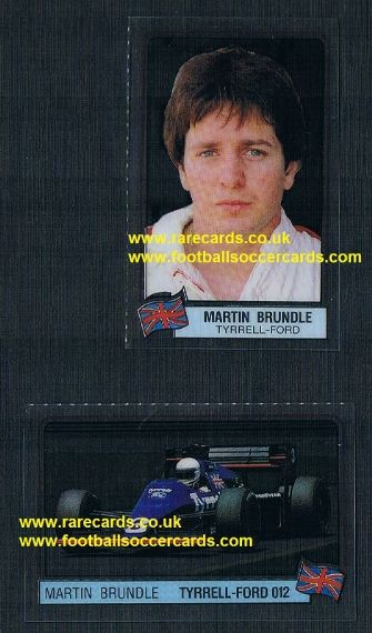 1984 Italian 2 plastic cards Martin Brundle Tyrrell Ford Formula One Grand Prix